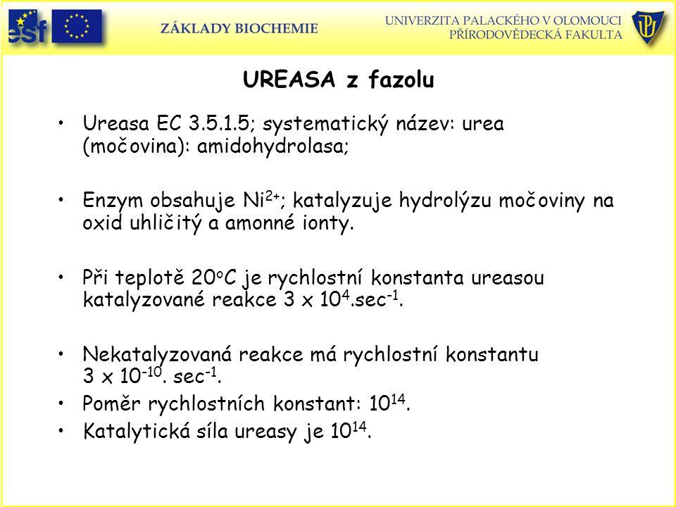 UREASA z fazolu Ureasa EC 3.5.1.5; systematický název: urea (močovina): amidohydrolasa;