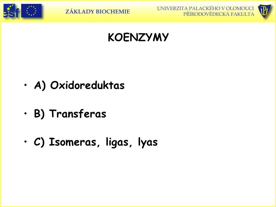 KOENZYMY A) Oxidoreduktas B) Transferas C) Isomeras, ligas, lyas