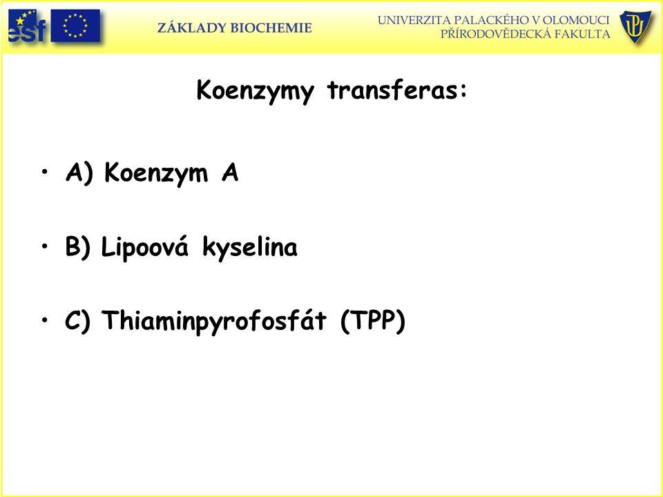 Koenzymy transferas: A) Koenzym A B) Lipoová kyselina C) Thiaminpyrofosfát (TPP)
