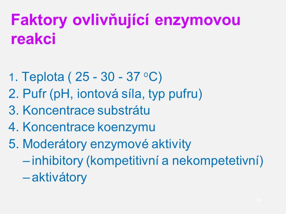 Faktory ovlivňující enzymovou reakci