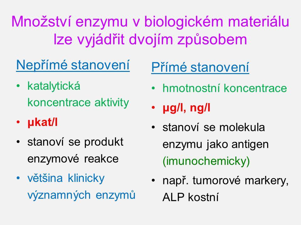 Množství enzymu v biologickém materiálu lze vyjádřit dvojím způsobem