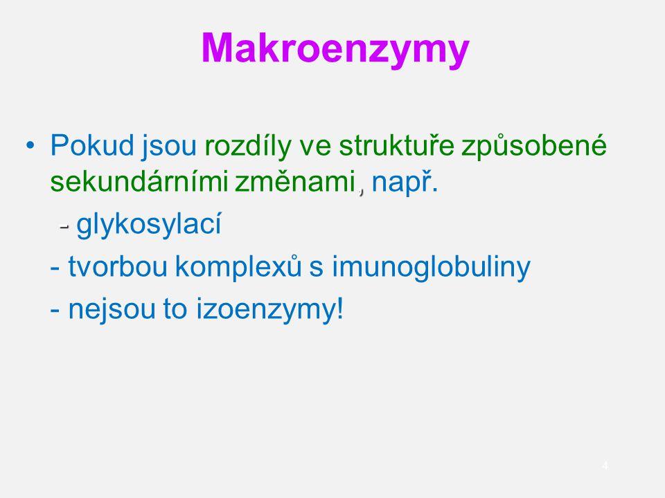 Makroenzymy Pokud jsou rozdíly ve struktuře způsobené sekundárními změnami, např. - glykosylací. - tvorbou komplexů s imunoglobuliny.