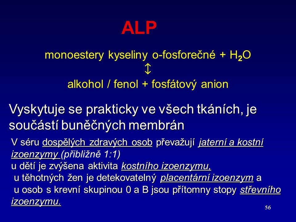 ALP monoestery kyseliny o-fosforečné + H2O.  alkohol / fenol + fosfátový anion.