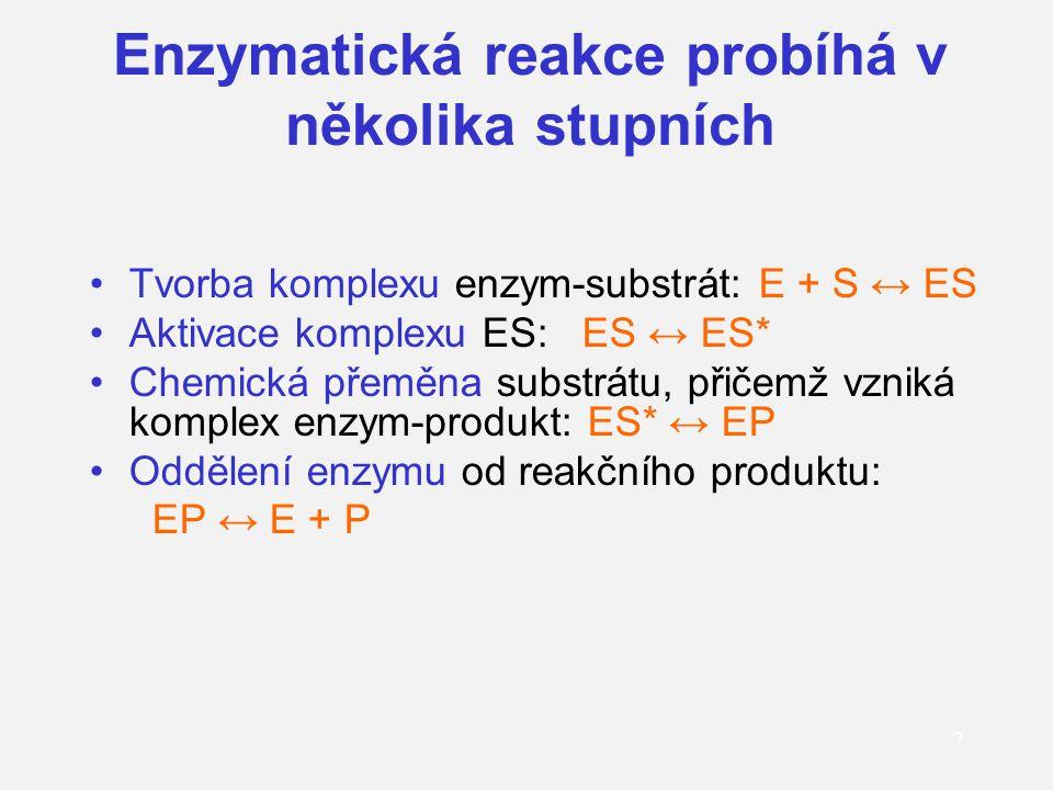 Enzymatická reakce probíhá v několika stupních