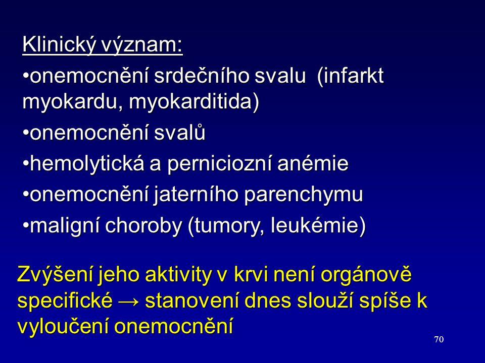 Klinický význam: onemocnění srdečního svalu (infarkt myokardu, myokarditida) onemocnění svalů. hemolytická a perniciozní anémie.