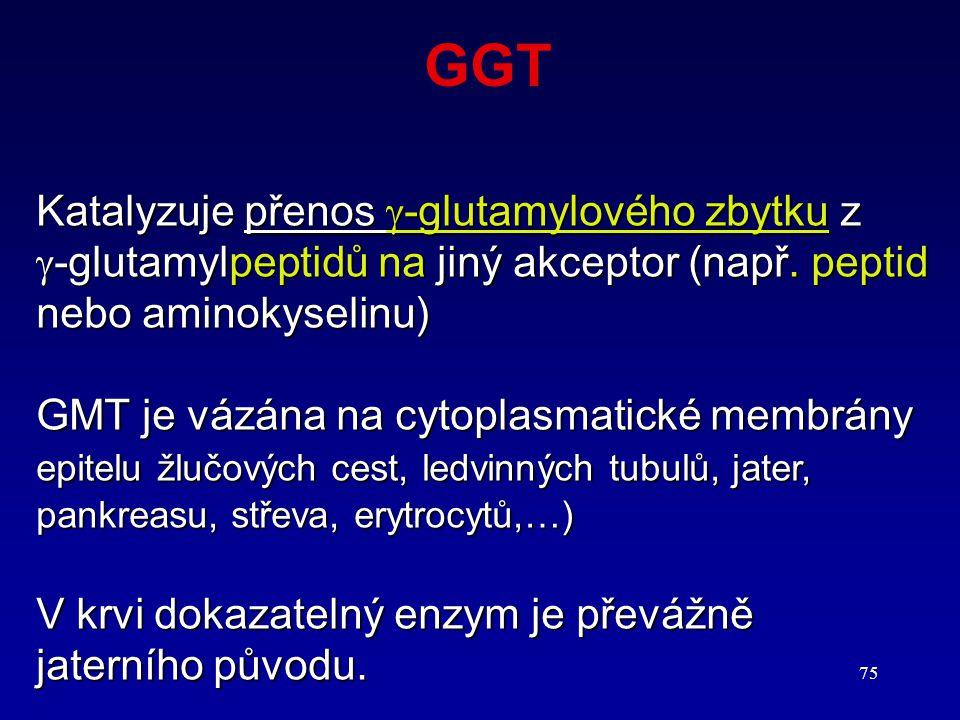 GGT Katalyzuje přenos -glutamylového zbytku z
