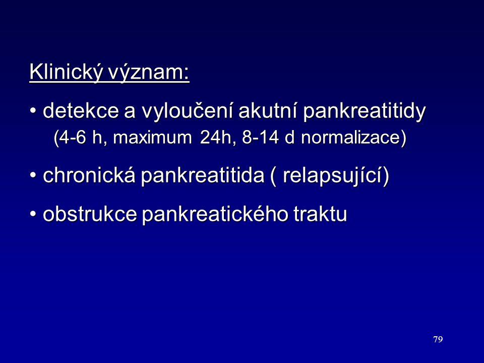 Klinický význam: detekce a vyloučení akutní pankreatitidy (4-6 h, maximum 24h, 8-14 d normalizace)