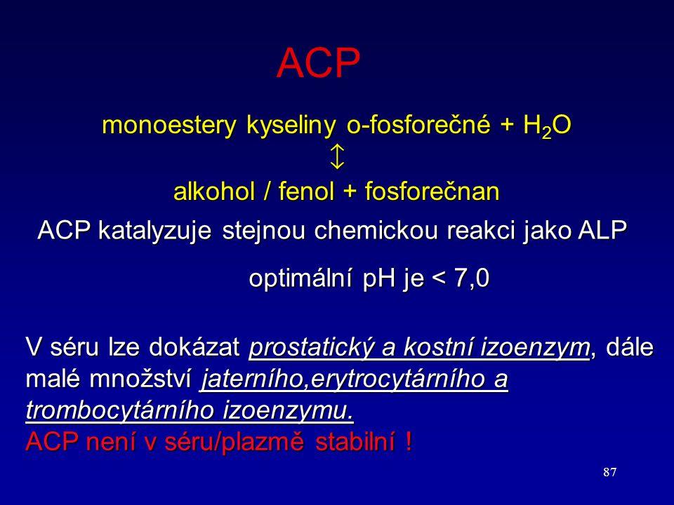 ACP monoestery kyseliny o-fosforečné + H2O 