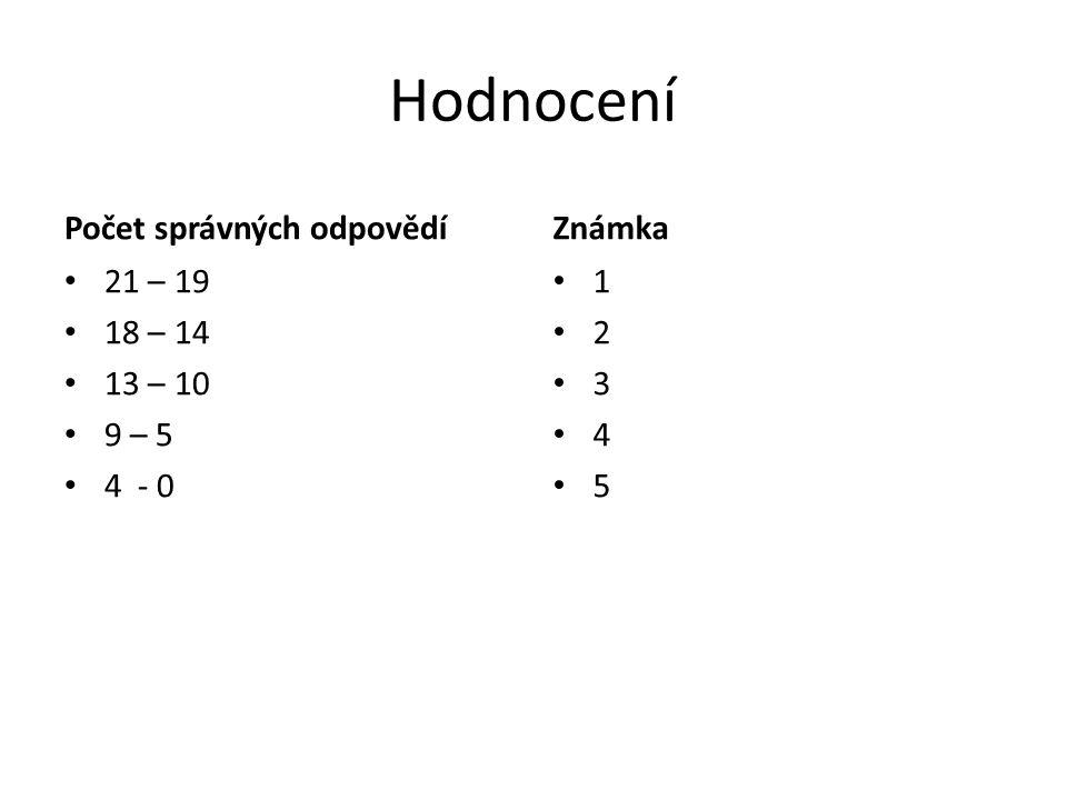 Hodnocení Počet správných odpovědí Známka 21 – 19 18 – 14 13 – 10