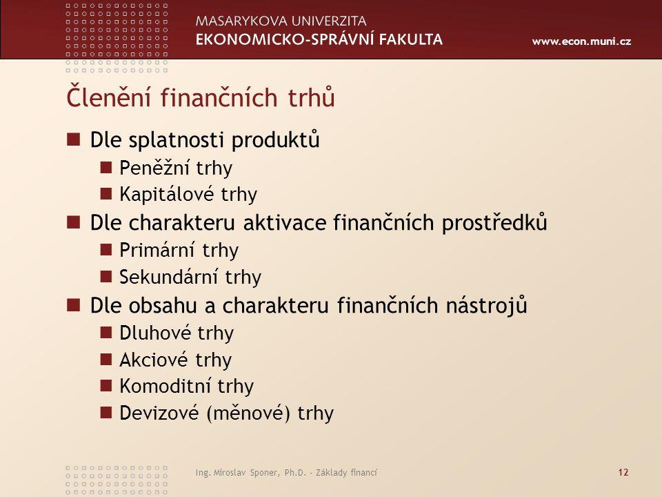 Členění finančních trhů