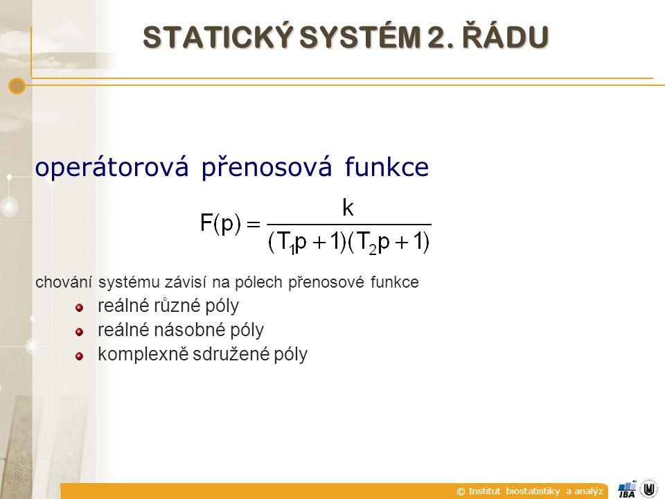 STATICKÝ SYSTÉM 2. ŘÁDU operátorová přenosová funkce reálné různé póly