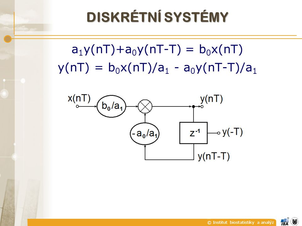 a1y(nT)+a0y(nT-T) = b0x(nT) y(nT) = b0x(nT)/a1 - a0y(nT-T)/a1