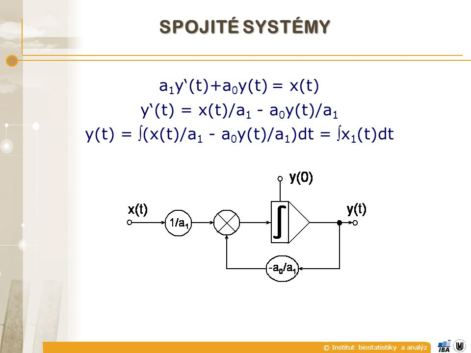 SPOJITÉ SYSTÉMY a1y'(t)+a0y(t) = x(t) y'(t) = x(t)/a1 - a0y(t)/a1