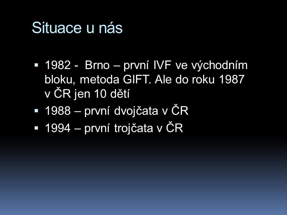 Situace u nás 1982 - Brno – první IVF ve východním bloku, metoda GIFT. Ale do roku 1987 v ČR jen 10 dětí.