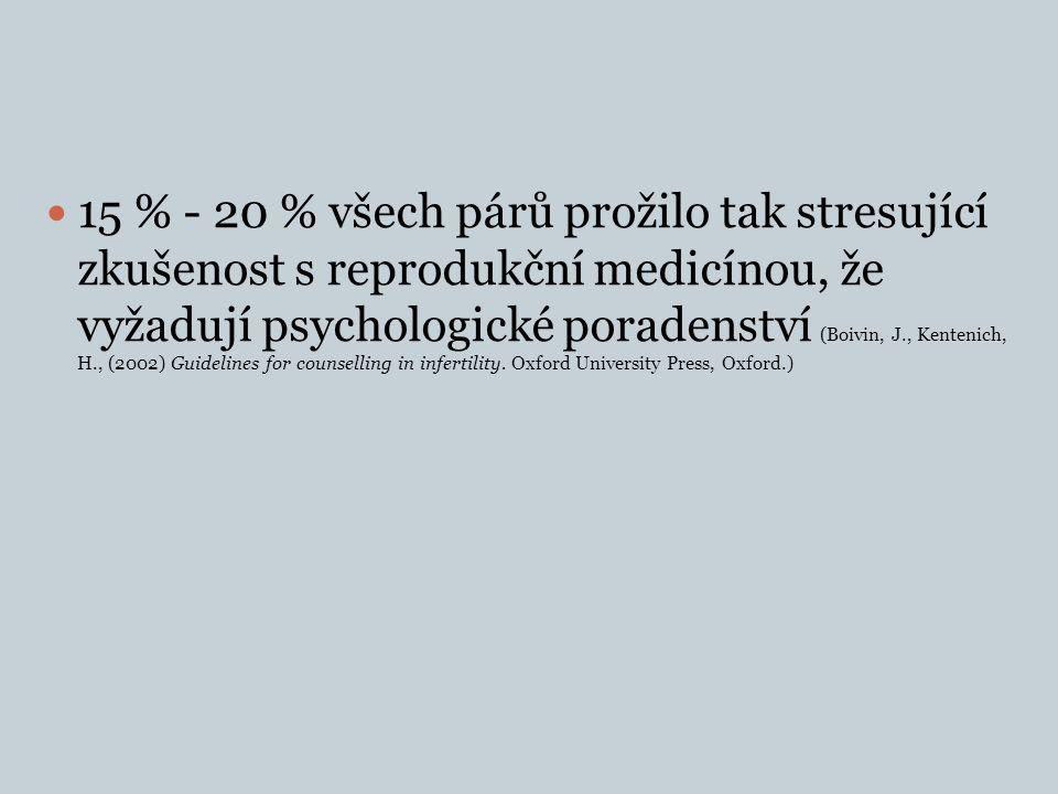 15 % - 20 % všech párů prožilo tak stresující zkušenost s reprodukční medicínou, že vyžadují psychologické poradenství (Boivin, J., Kentenich, H., (2002) Guidelines for counselling in infertility.