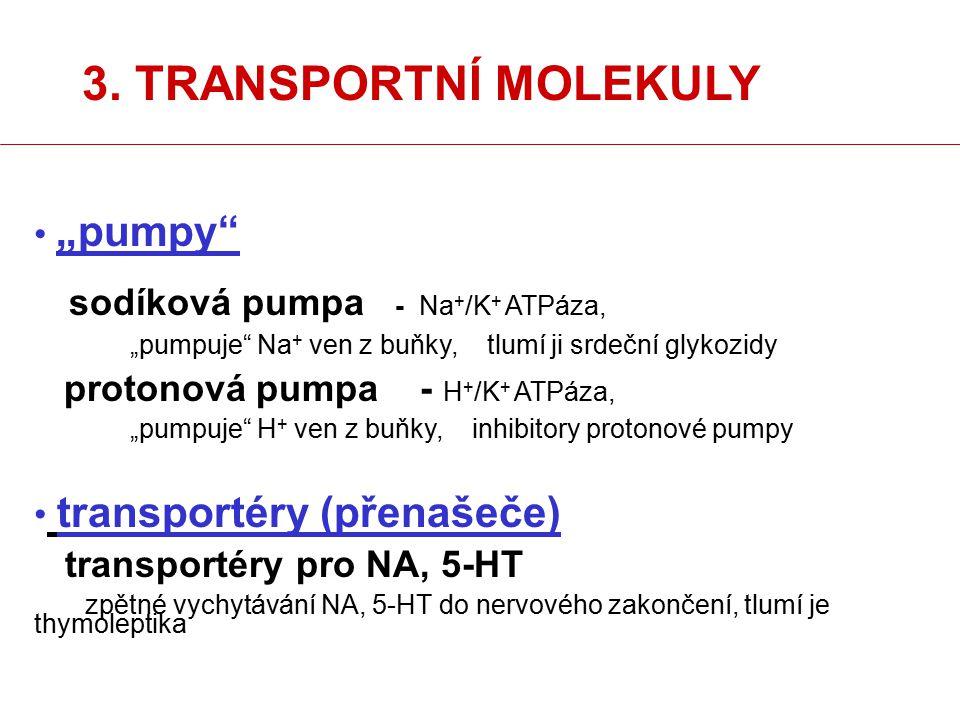 """3. TRANSPORTNÍ MOLEKULY """"pumpy transportéry (přenašeče)"""