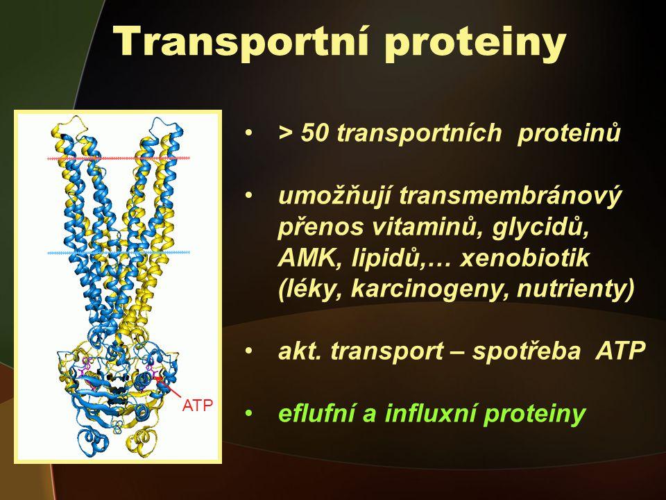 Transportní proteiny > 50 transportních proteinů