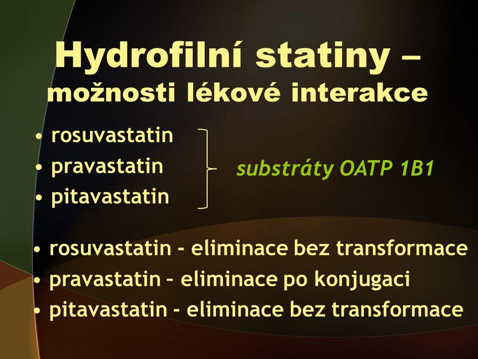 Hydrofilní statiny – možnosti lékové interakce