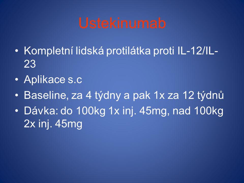 Ustekinumab Kompletní lidská protilátka proti IL-12/IL-23 Aplikace s.c