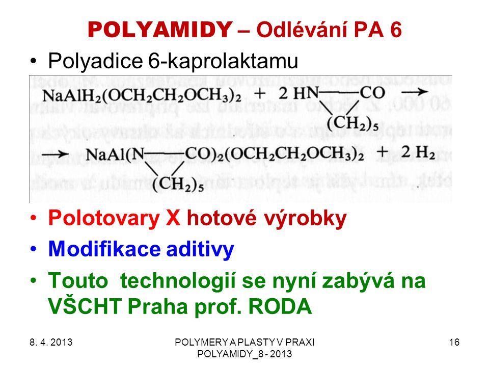 POLYAMIDY – Odlévání PA 6