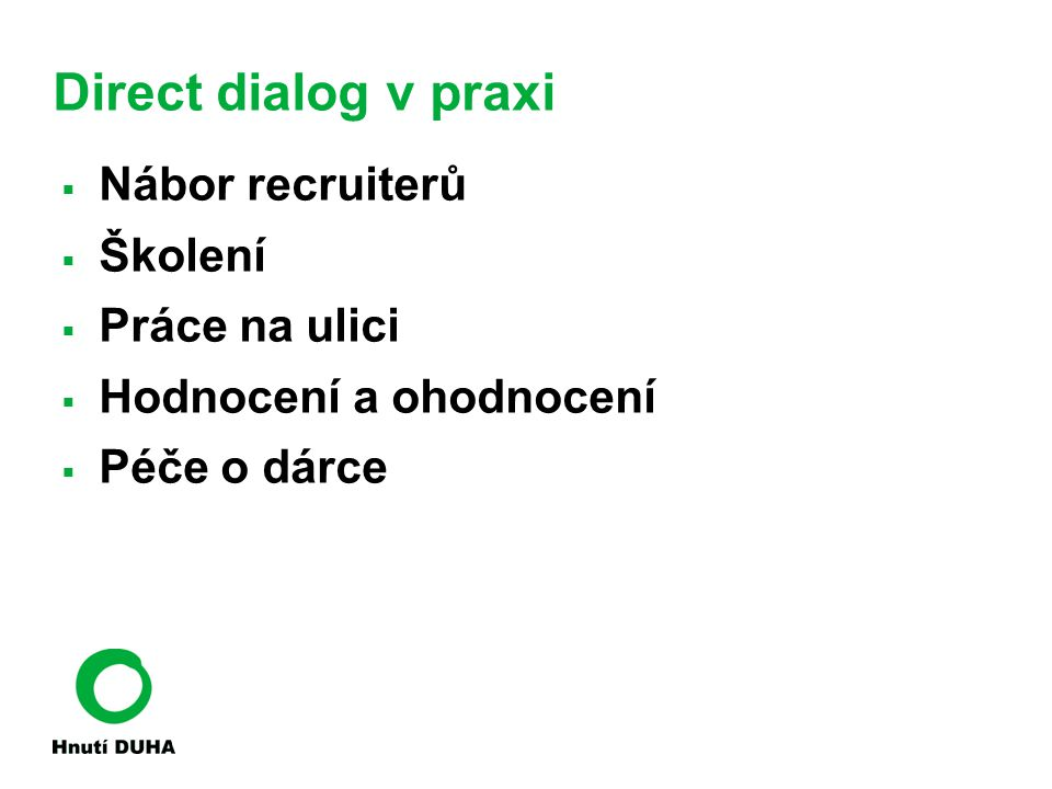 Direct dialog v praxi Nábor recruiterů Školení Práce na ulici