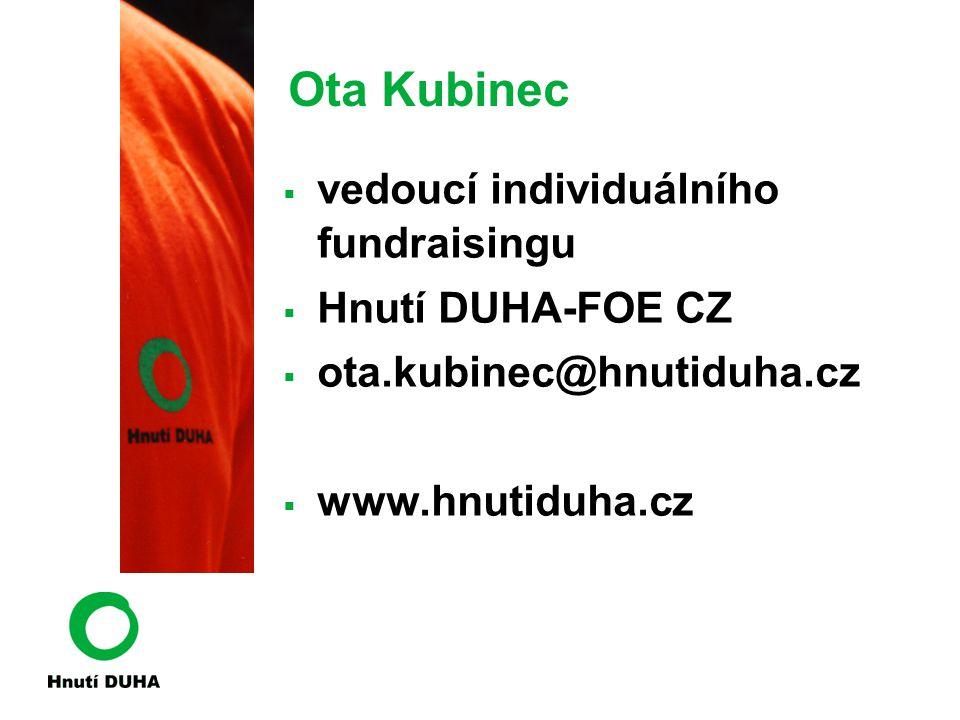 Ota Kubinec vedoucí individuálního fundraisingu Hnutí DUHA-FOE CZ