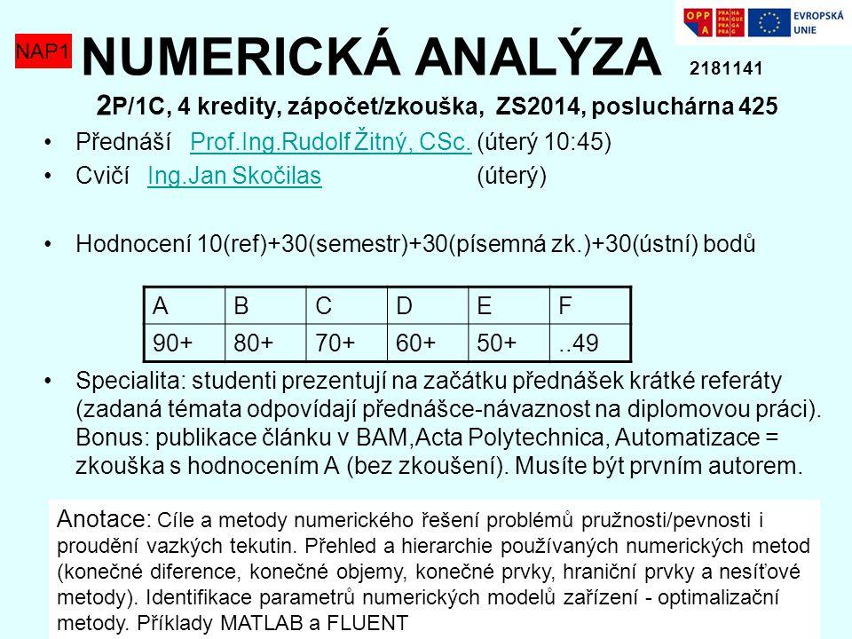 NUMERICKÁ ANALÝZA 2181141 2P/1C, 4 kredity, zápočet/zkouška, ZS2014, posluchárna 425