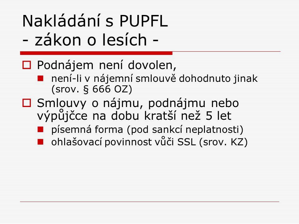 Nakládání s PUPFL - zákon o lesích -