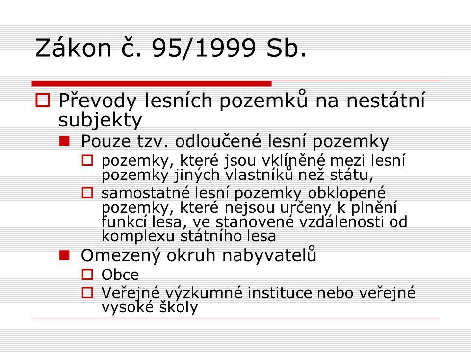 Zákon č. 95/1999 Sb. Převody lesních pozemků na nestátní subjekty