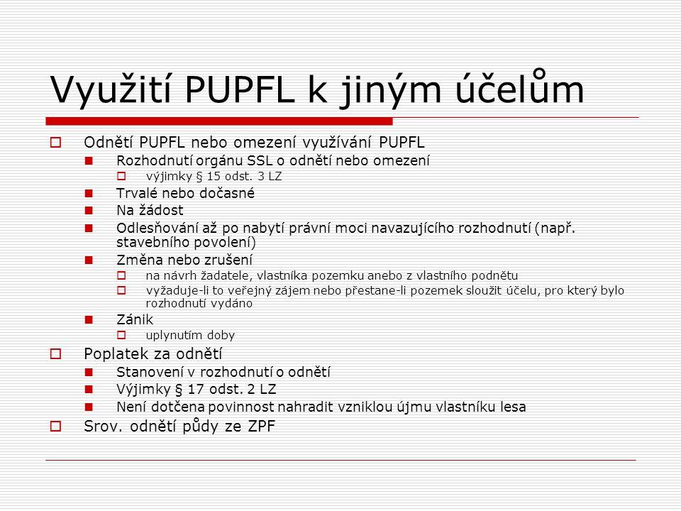 Využití PUPFL k jiným účelům