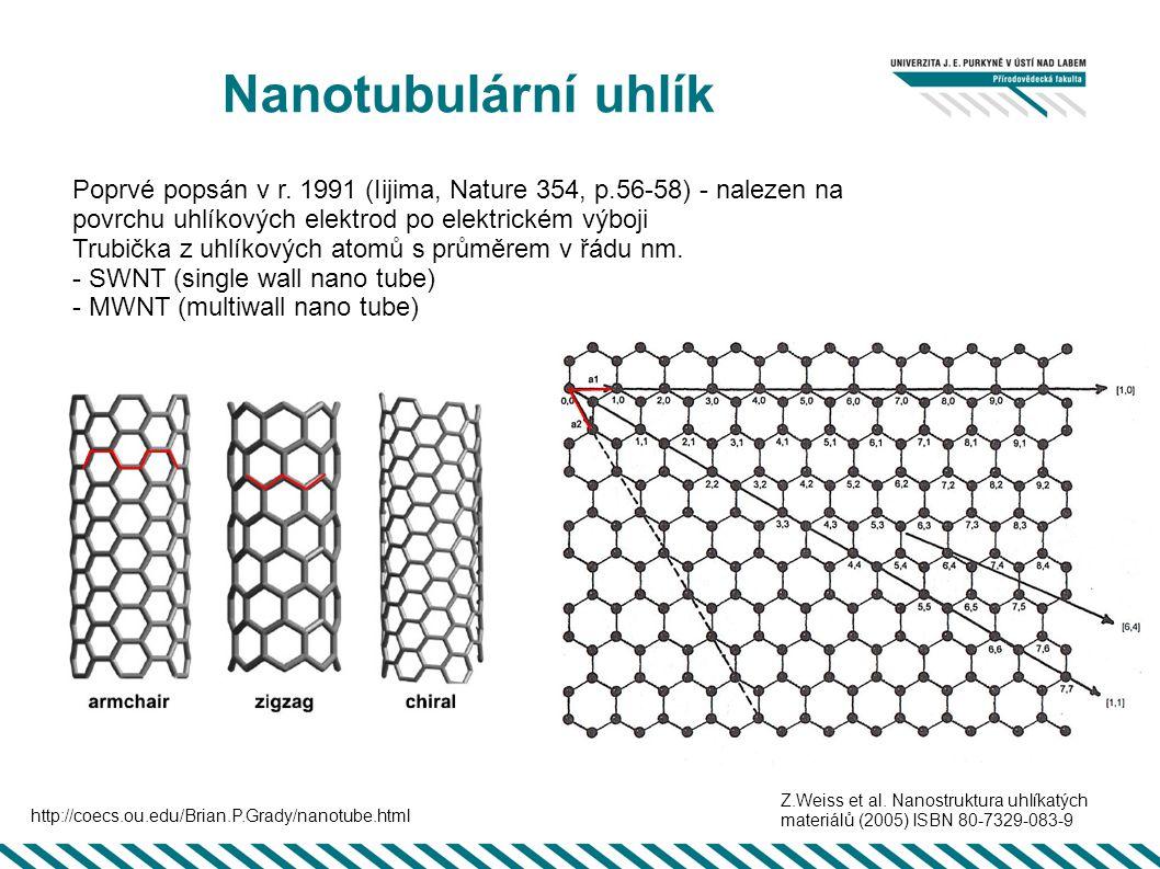 Nanotubulární uhlík Poprvé popsán v r. 1991 (Iijima, Nature 354, p.56-58) - nalezen na povrchu uhlíkových elektrod po elektrickém výboji.