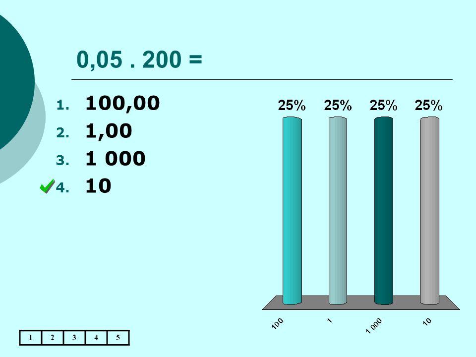 0,05 . 200 = 100,00 1,00 1 000 10 1 2 3 4 5