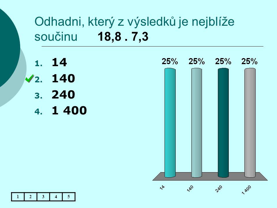 Odhadni, který z výsledků je nejblíže součinu 18,8 . 7,3