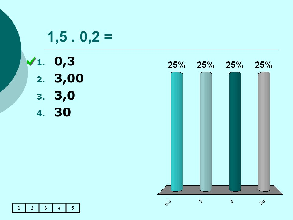 1,5 . 0,2 = 0,3 3,00 3,0 30 1 2 3 4 5