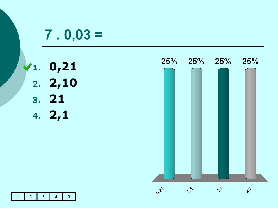 7 . 0,03 = 0,21 2,10 21 2,1 1 2 3 4 5