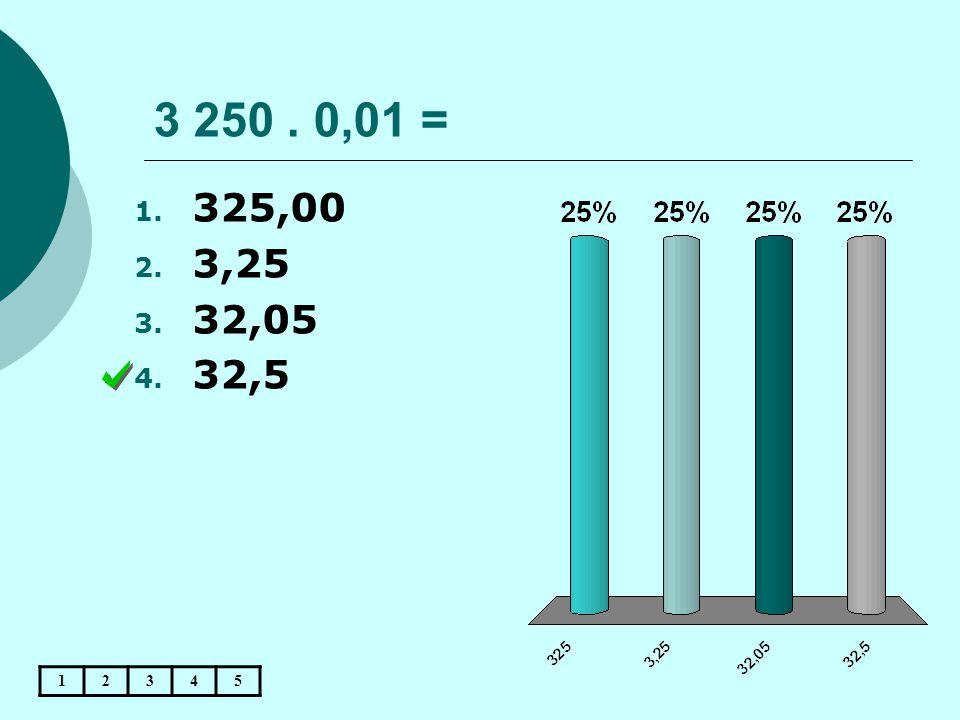 3 250 . 0,01 = 325,00 3,25 32,05 32,5 1 2 3 4 5