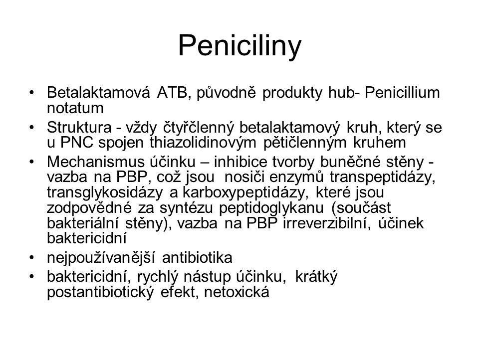 Peniciliny Betalaktamová ATB, původně produkty hub- Penicillium notatum.