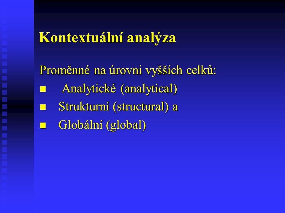 Kontextuální analýza Proměnné na úrovni vyšších celků: