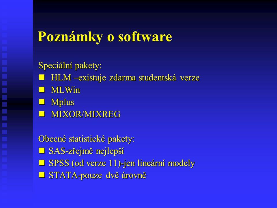 Poznámky o software Speciální pakety: