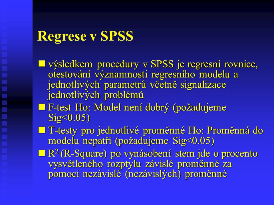 Regrese v SPSS