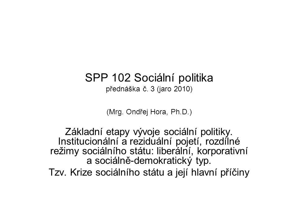 Tzv. Krize sociálního státu a její hlavní příčiny
