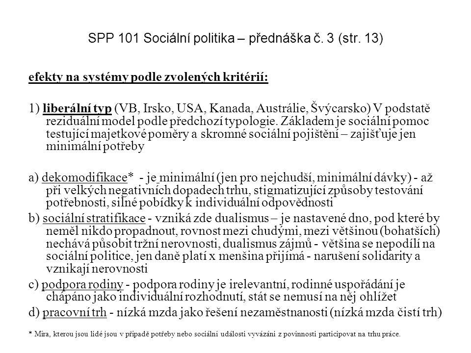 SPP 101 Sociální politika – přednáška č. 3 (str. 13)