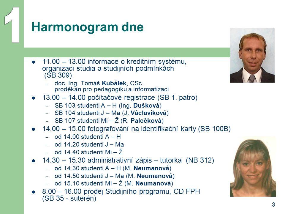 1 Harmonogram dne. 11.00 – 13.00 informace o kreditním systému, organizaci studia a studijních podmínkách (SB 309)