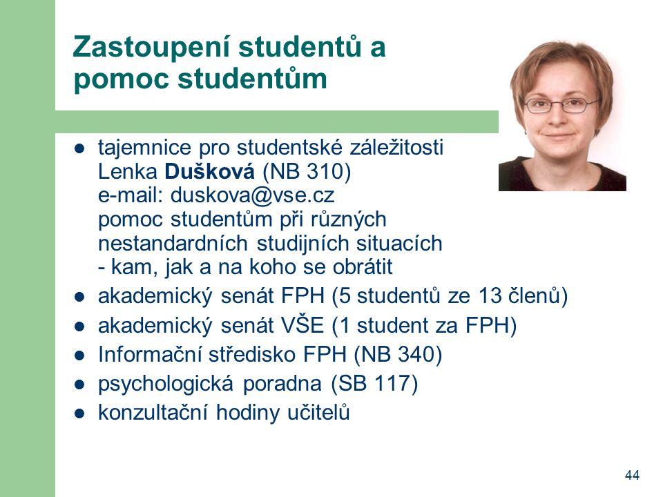 Zastoupení studentů a pomoc studentům