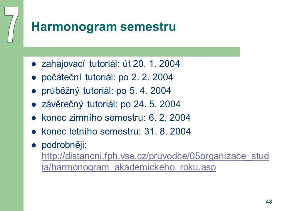 7 Harmonogram semestru zahajovací tutoriál: út 20. 1. 2004