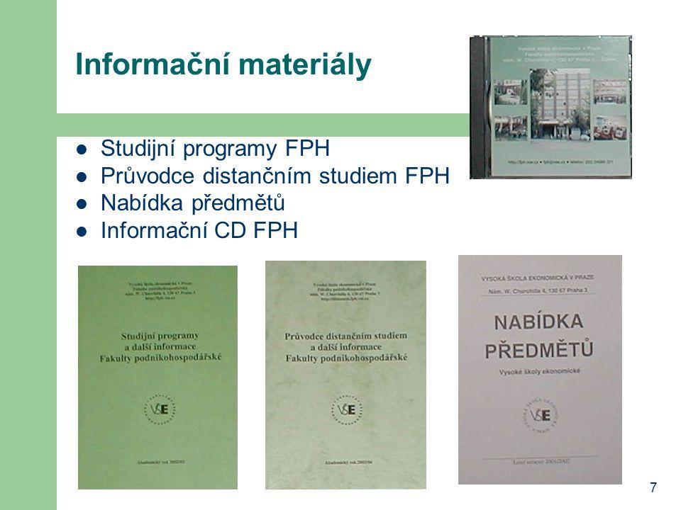 Informační materiály Studijní programy FPH