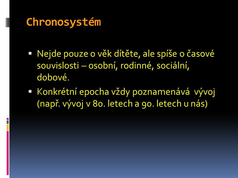 Chronosystém Nejde pouze o věk dítěte, ale spíše o časové souvislosti – osobní, rodinné, sociální, dobové.