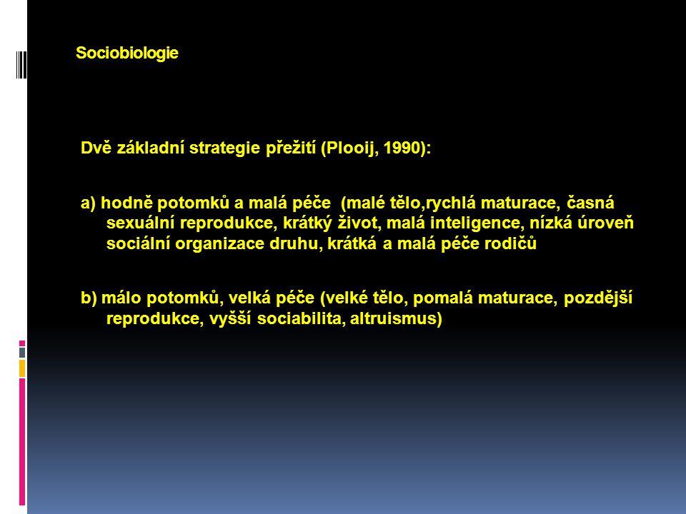 Sociobiologie Dvě základní strategie přežití (Plooij, 1990):