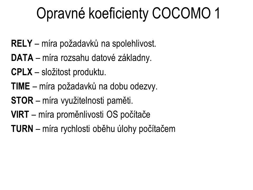 Opravné koeficienty COCOMO 1