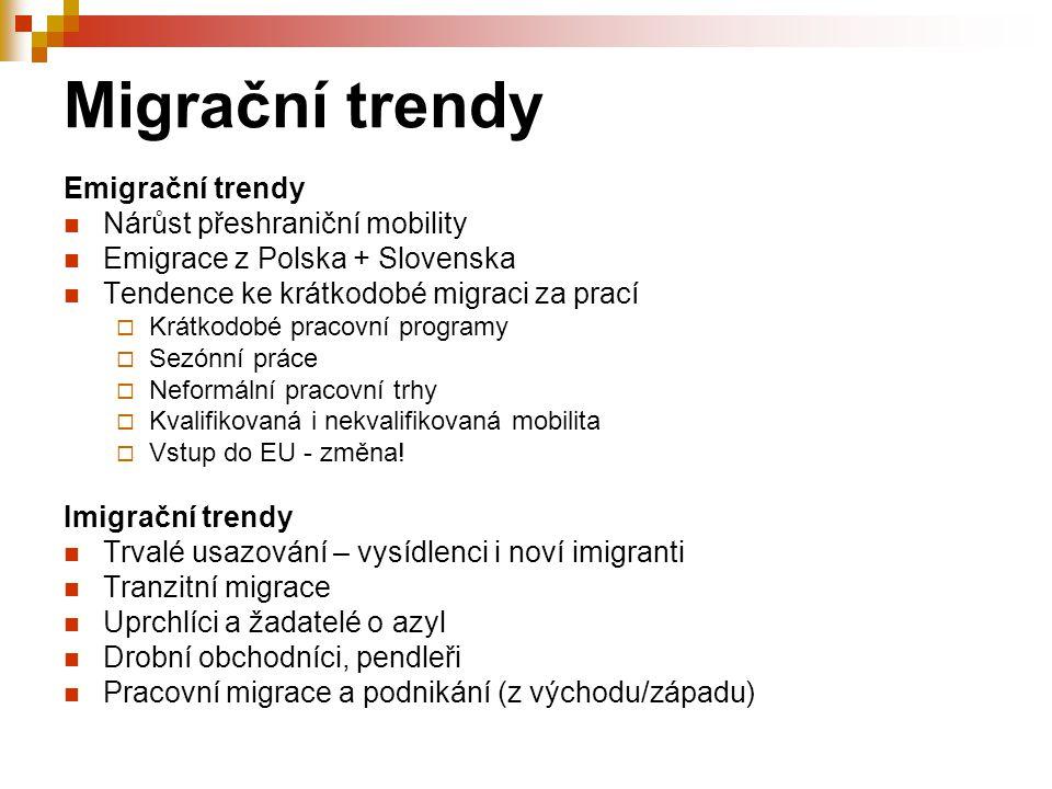Migrační trendy Emigrační trendy Nárůst přeshraniční mobility